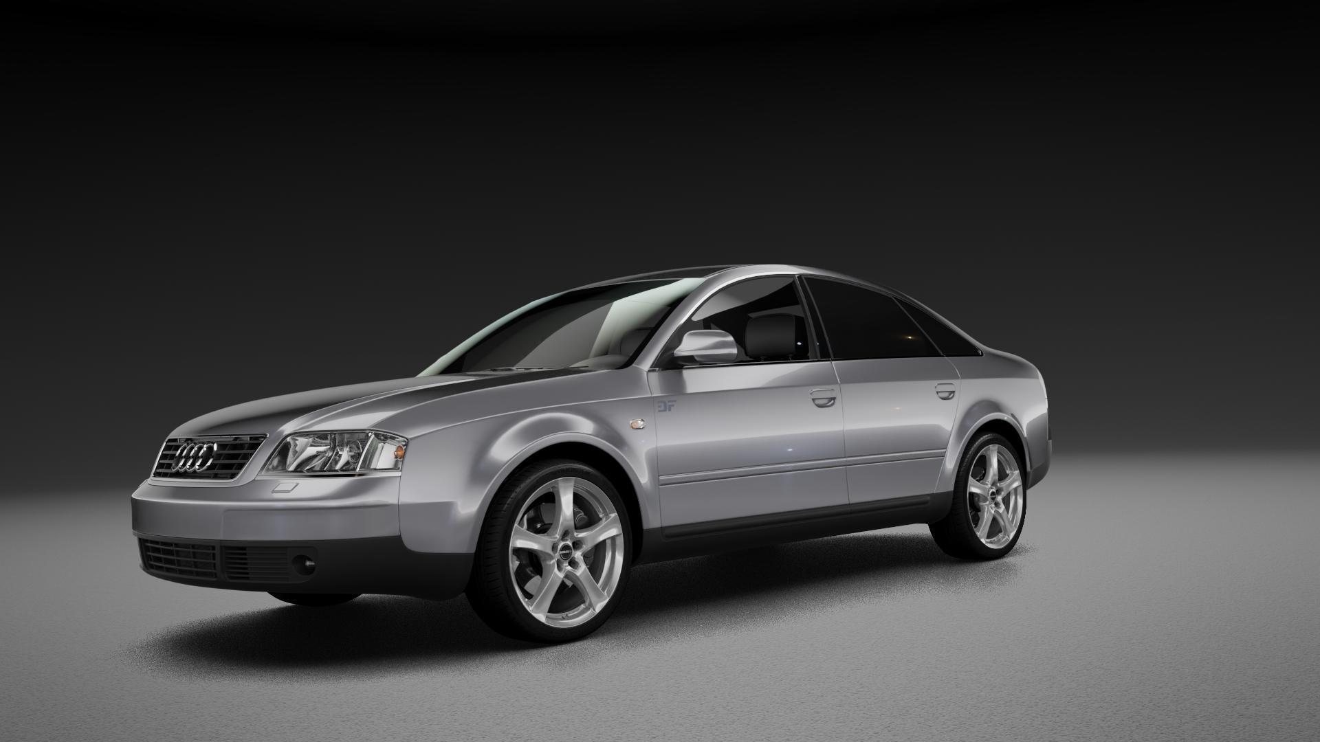 Borbet F brilliant silver Felge mit Reifen silber in 18Zoll Winterfelge Alufelge auf silbernem Audi A6 Typ 4B/C5 (Limousine) ⬇️ mit 15mm Tieferlegung ⬇️ Neutral_mid_max5300mm Frontansicht_1