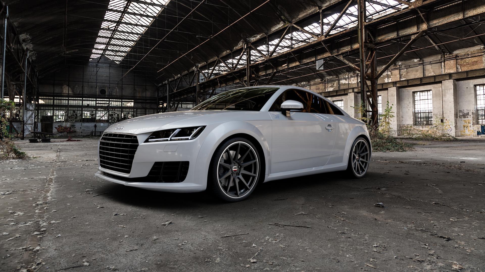 Borbet GTX black rim polished matt Felge mit Reifen schwarz in 20Zoll Winterfelge Alufelge auf silbernem Audi TT III Typ 8S (Coupé) (Roadster) ⬇️ mit 15mm Tieferlegung ⬇️ Industriehalle 1 Camera_000