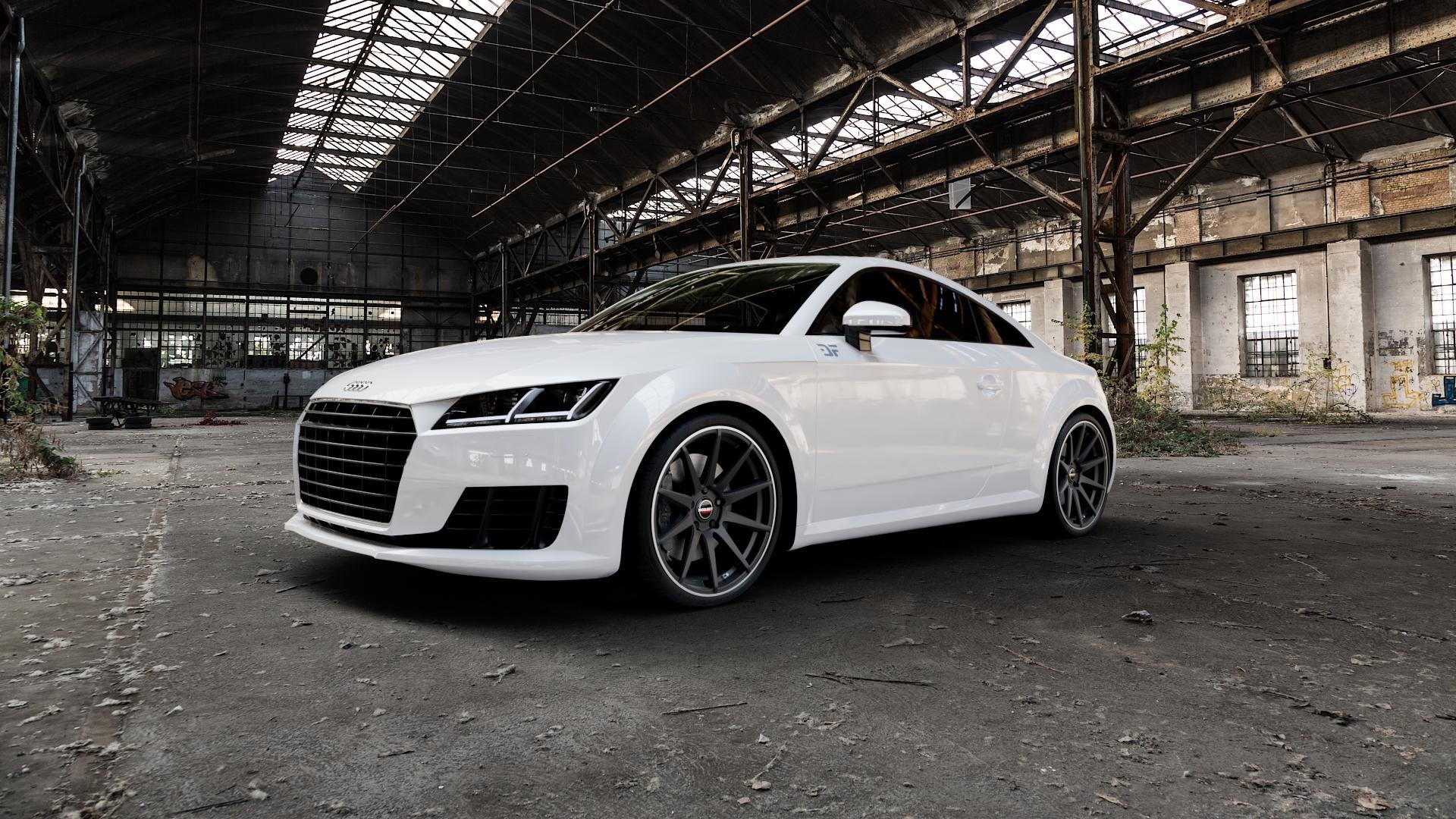 Borbet GTX black rim polished matt Felge mit Reifen schwarz in 20Zoll Winterfelge Alufelge auf weissem Audi TT III Typ 8S (Coupé) (Roadster) ⬇️ mit 15mm Tieferlegung ⬇️ Industriehalle 1 Camera_000