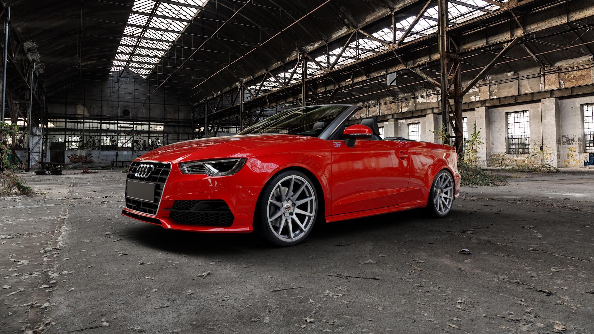 Borbet GTX titan glossy Felge mit Reifen grau in 19Zoll Winterfelge Alufelge auf rotem Audi A3 Typ 8V (Cabriolet) ⬇️ mit 15mm Tieferlegung ⬇️ Industriehalle 1 Camera_000
