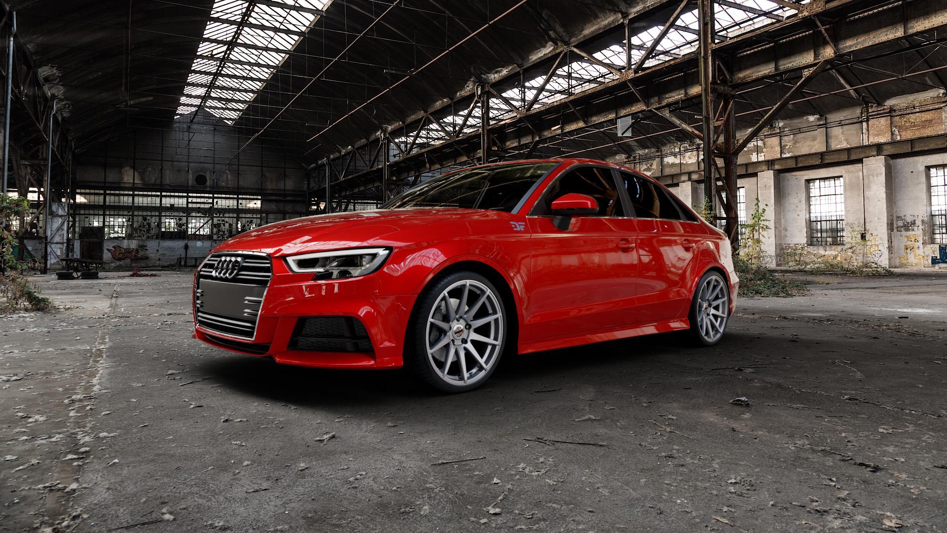 Borbet GTX titan glossy Felge mit Reifen grau in 19Zoll Winterfelge Alufelge auf rotem Audi A3 Typ 8V (Limousine) Facelift ⬇️ mit 15mm Tieferlegung ⬇️ Industriehalle 1 Camera_000