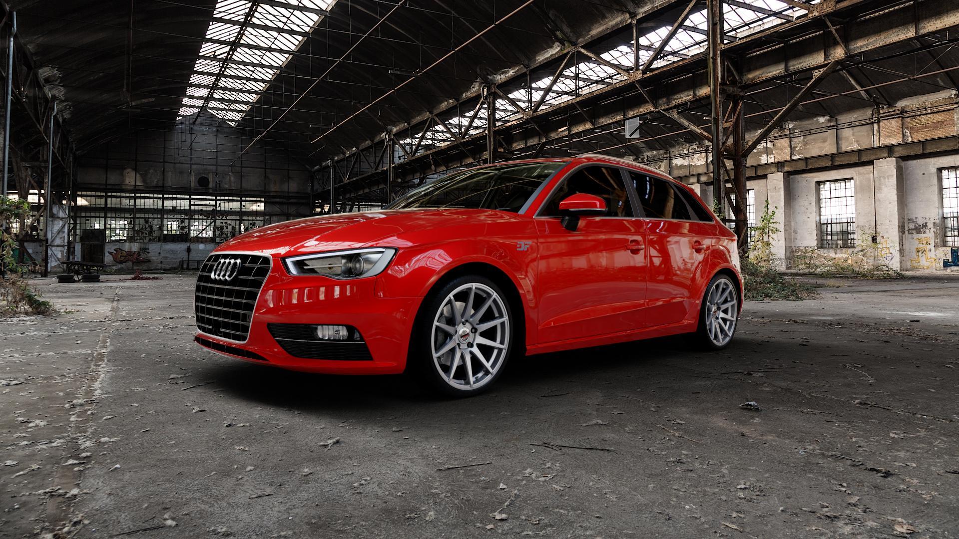 Borbet GTX titan glossy Felge mit Reifen grau in 19Zoll Winterfelge Alufelge auf rotem Audi A3 Typ 8V (Sportback) ⬇️ mit 15mm Tieferlegung ⬇️ Industriehalle 1 Camera_000