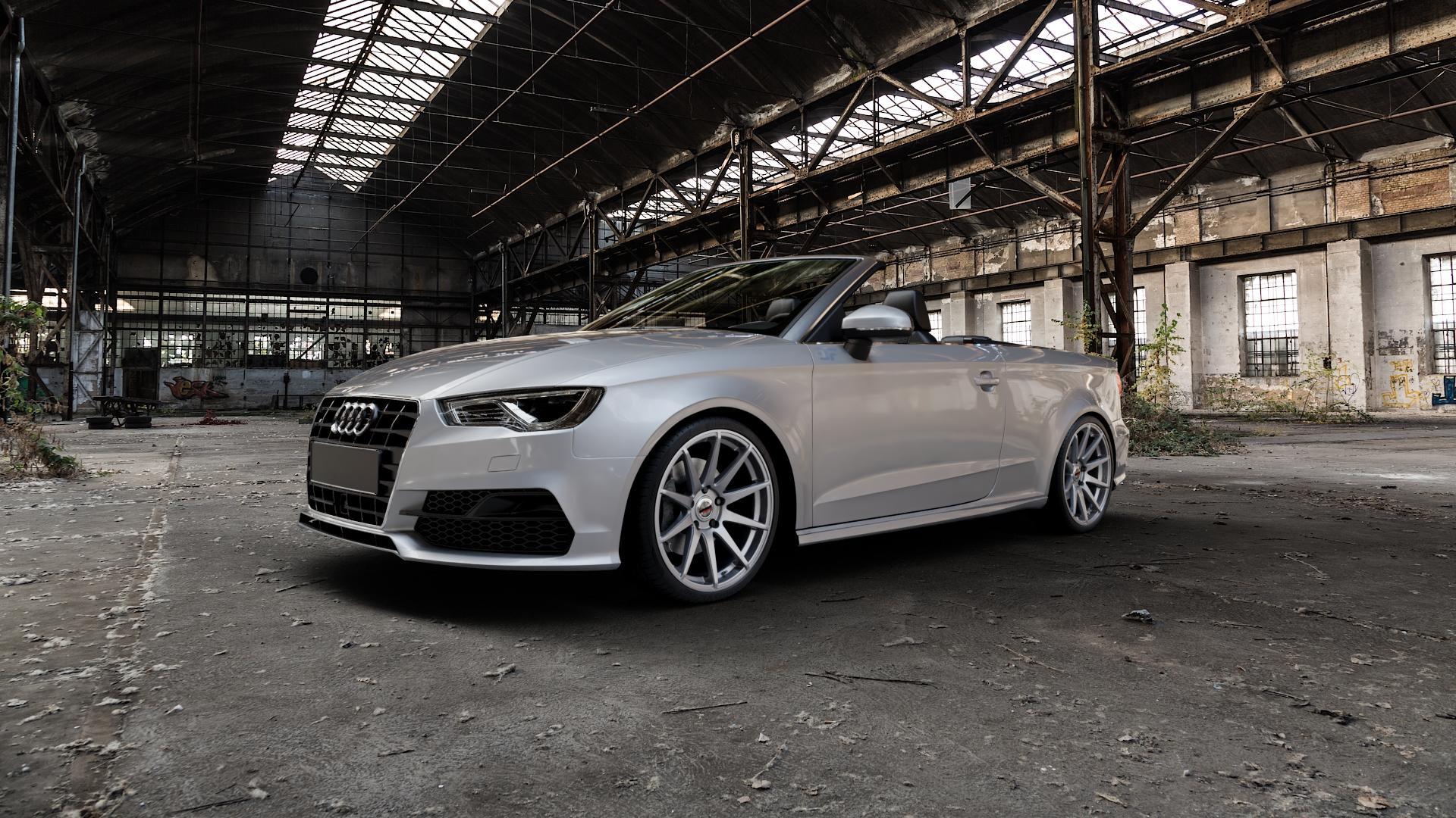 Borbet GTX titan glossy Felge mit Reifen grau in 19Zoll Winterfelge Alufelge auf silbernem Audi A3 Typ 8V (Cabriolet) ⬇️ mit 15mm Tieferlegung ⬇️ Industriehalle 1 Camera_000