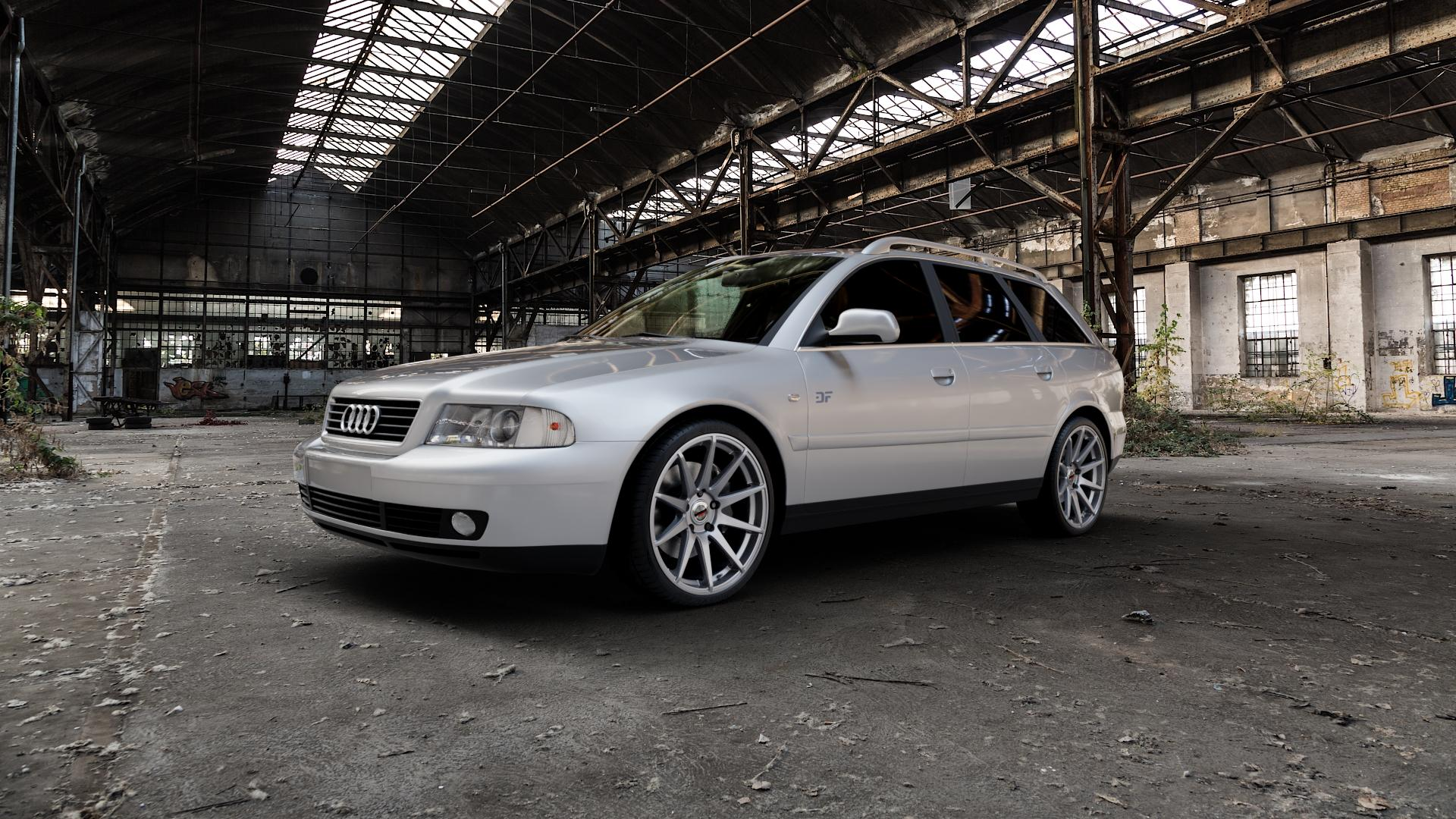 Borbet GTX titan glossy Felge mit Reifen grau in 19Zoll Winterfelge Alufelge auf silbernem Audi A4 Typ 8D5/B5 (Avant) ⬇️ mit 15mm Tieferlegung ⬇️ Industriehalle 1 Camera_000