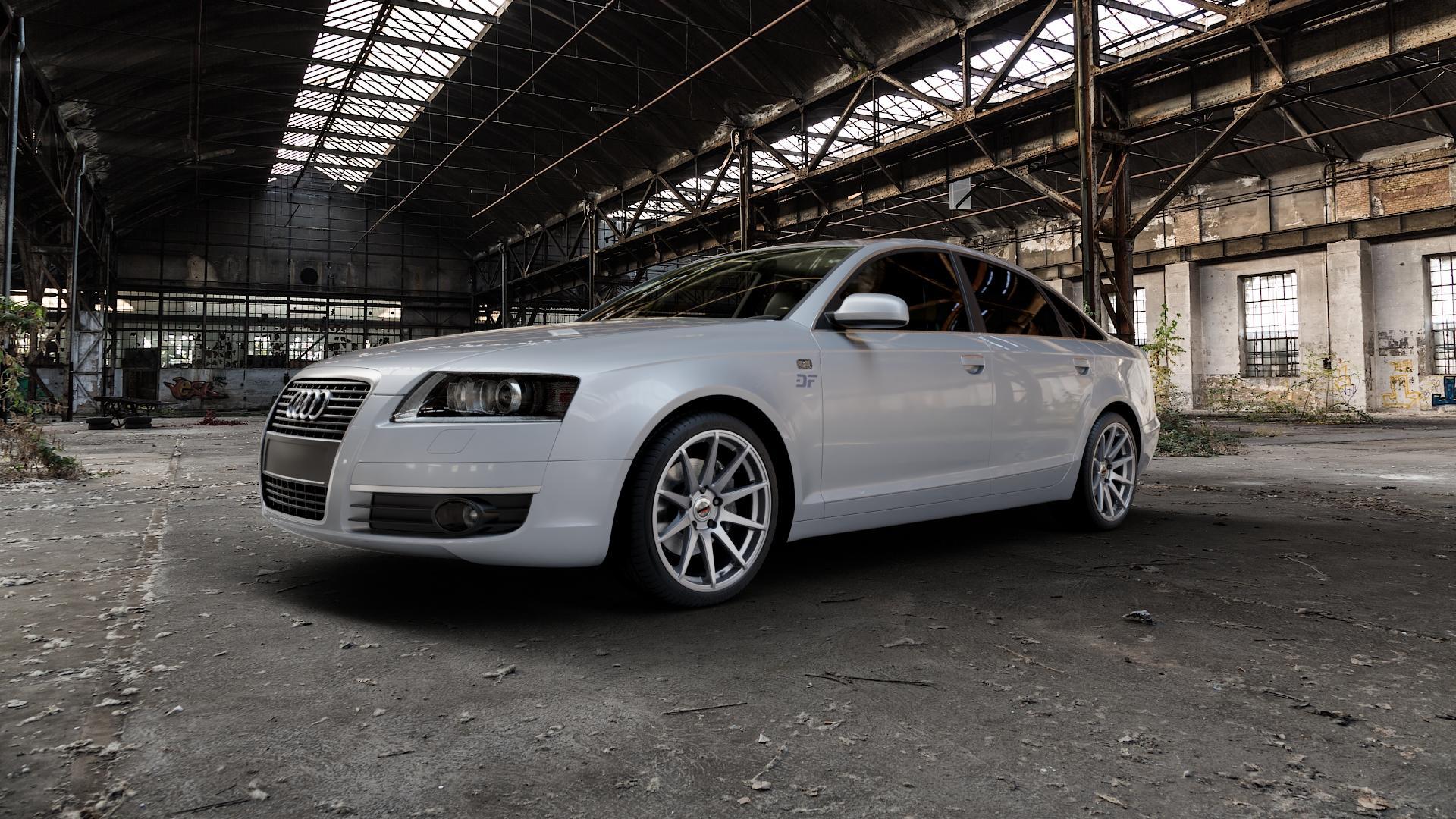 Borbet GTX titan glossy Felge mit Reifen grau in 19Zoll Winterfelge Alufelge auf silbernem Audi A6 Typ 4F/C6 (Limousine) ⬇️ mit 15mm Tieferlegung ⬇️ Industriehalle 1 Camera_000