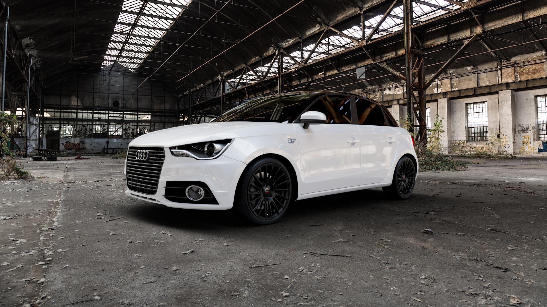 Borbet LS2 black matt Felge mit Reifen schwarz in 18Zoll Winterfelge Alufelge auf weissem Audi A1 Typ 8X (Sportback) ⬇️ mit 15mm Tieferlegung ⬇️ Industriehalle 1 Camera_000