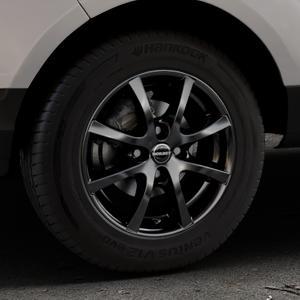 Borbet LV4 black glossy Felge mit Reifen schwarz in 15Zoll Winterfelge Alufelge auf silbernem Ford EcoSport Typ JK8 ⬇️ mit 15mm Tieferlegung ⬇️ Industriehalle 1 Thumbnail