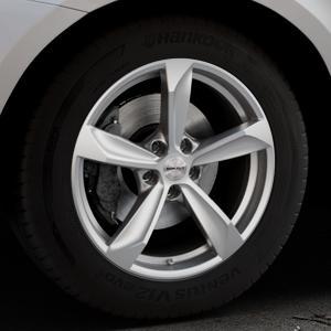 Borbet S brilliant silver Felge mit Reifen silber in 18Zoll Winterfelge Alufelge auf silbernem Volvo XC60 Typ D Facelift ⬇️ mit 15mm Tieferlegung ⬇️ Industriehalle 1 Thumbnail