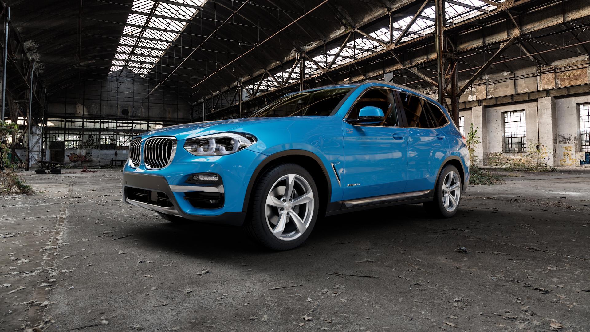 Borbet S brilliant silver Felge mit Reifen silber in 19Zoll Winterfelge Alufelge auf hellblau BMW X3 Typ G01 (G3X) ⬇️ mit 15mm Tieferlegung ⬇️ Industriehalle 1 Camera_000