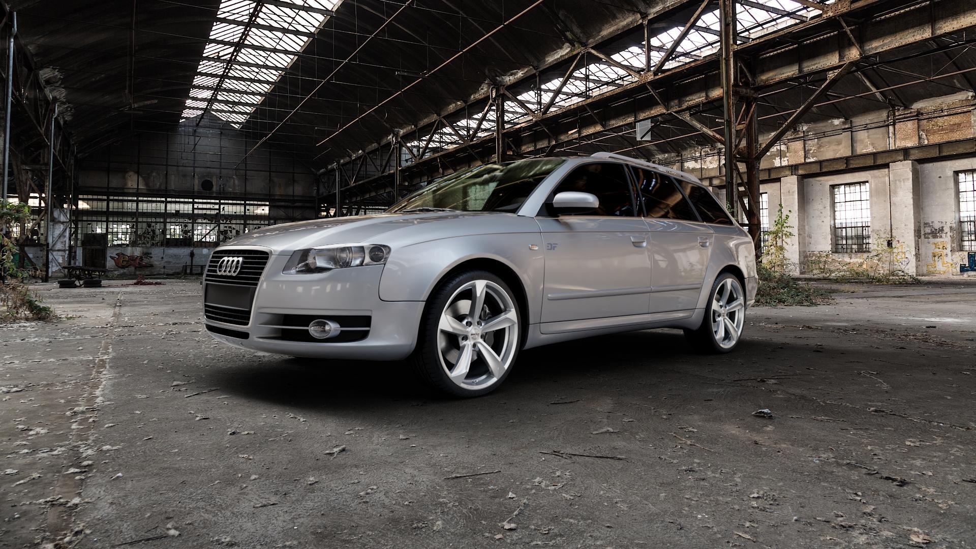 Borbet S brilliant silver Felge mit Reifen silber in 19Zoll Winterfelge Alufelge auf silbernem Audi A4 Typ 8ED/B7 (Avant) ⬇️ mit 15mm Tieferlegung ⬇️ Industriehalle 1 Camera_000