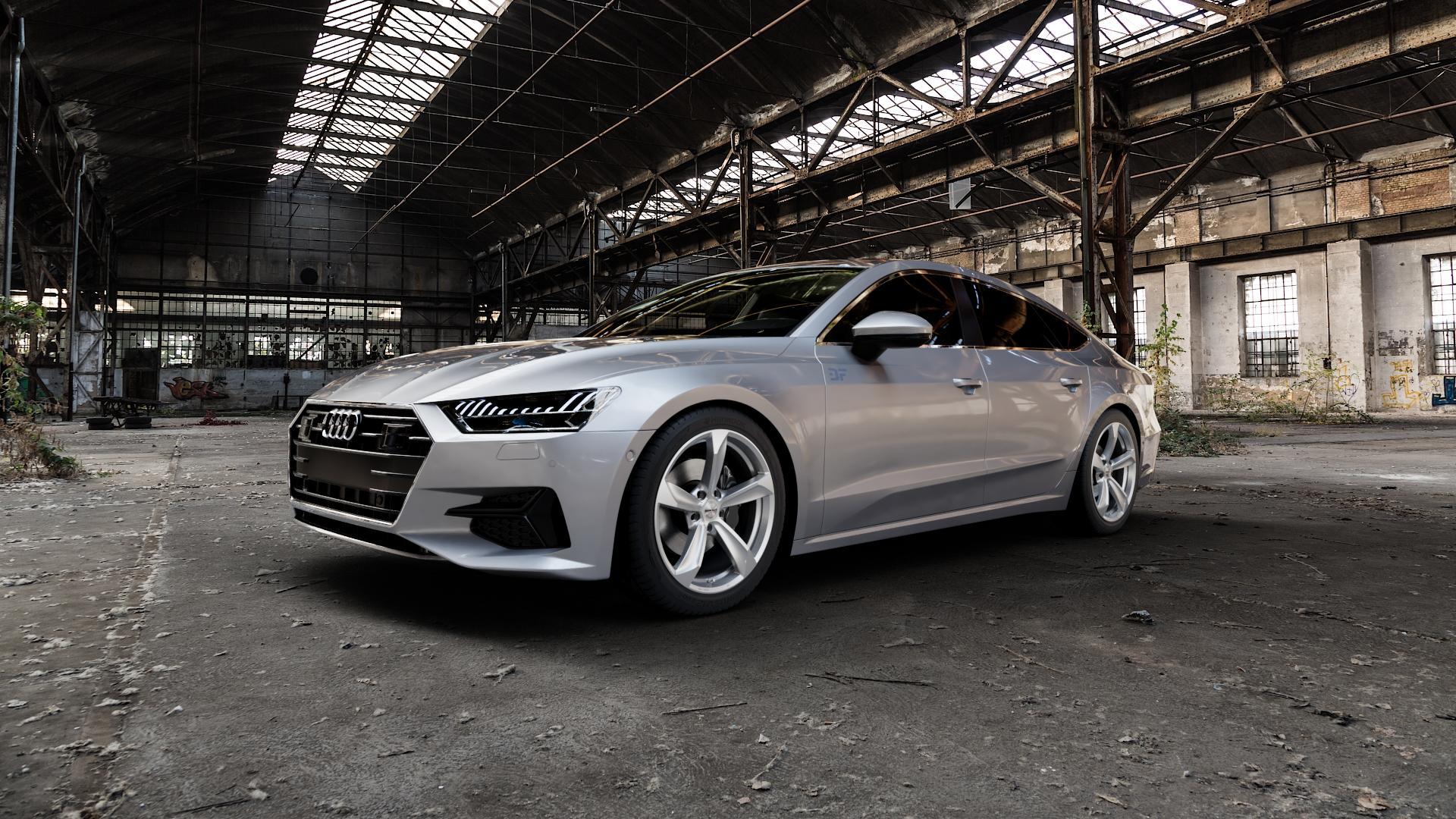 Borbet S brilliant silver Felge mit Reifen silber in 19Zoll Winterfelge Alufelge auf silbernem Audi A7 Typ F2/C8 (Sportback) ⬇️ mit 15mm Tieferlegung ⬇️ Industriehalle 1 Camera_000