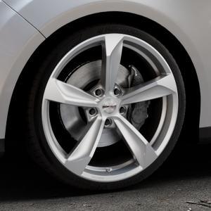 Borbet S brilliant silver Felge mit Reifen silber in 19Zoll Winterfelge Alufelge auf silbernem Ford Focus III Typ DYB (Turnier) ⬇️ mit 15mm Tieferlegung ⬇️ Industriehalle 1 Thumbnail