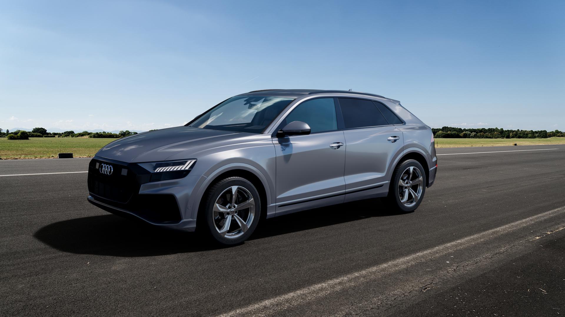 Borbet S brilliant silver Felge mit Reifen silber in 20Zoll Winterfelge Alufelge auf silbernem Audi Q8 Typ 4M (4L) ⬇️ mit 15mm Tieferlegung ⬇️ Big_Vehicle_Airstrip_1 Frontansicht_1