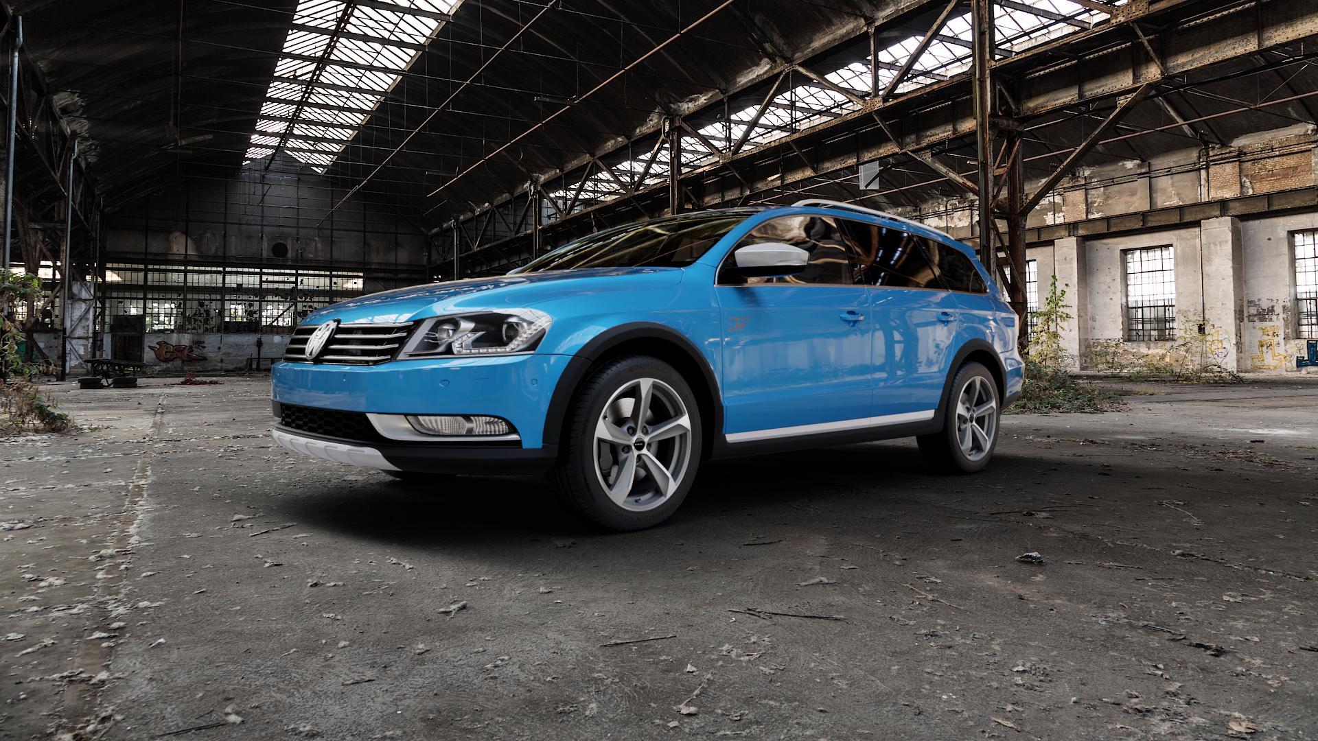 Borbet S graphite polished matt Felge mit Reifen grau mehrfarbig in 17Zoll Alufelge auf hellblau Volkswagen (VW) Passat 3C/B7 Alltrack ⬇️ mit 15mm Tieferlegung ⬇️ Industriehalle 1 Camera_000