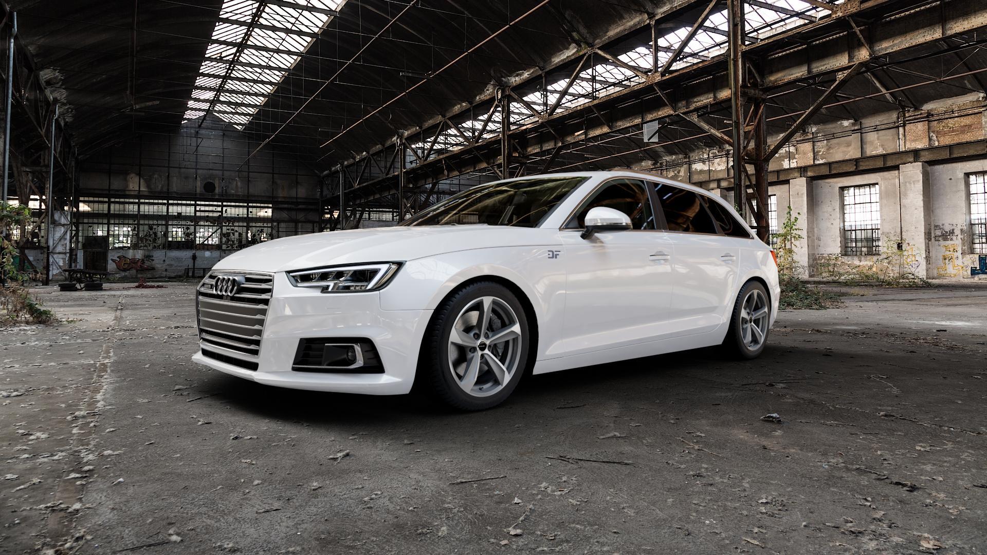 Borbet S graphite polished matt Felge mit Reifen grau mehrfarbig in 17Zoll Alufelge auf weissem Audi A4 Typ B9 (Avant) ⬇️ mit 15mm Tieferlegung ⬇️ Industriehalle 1 Camera_000
