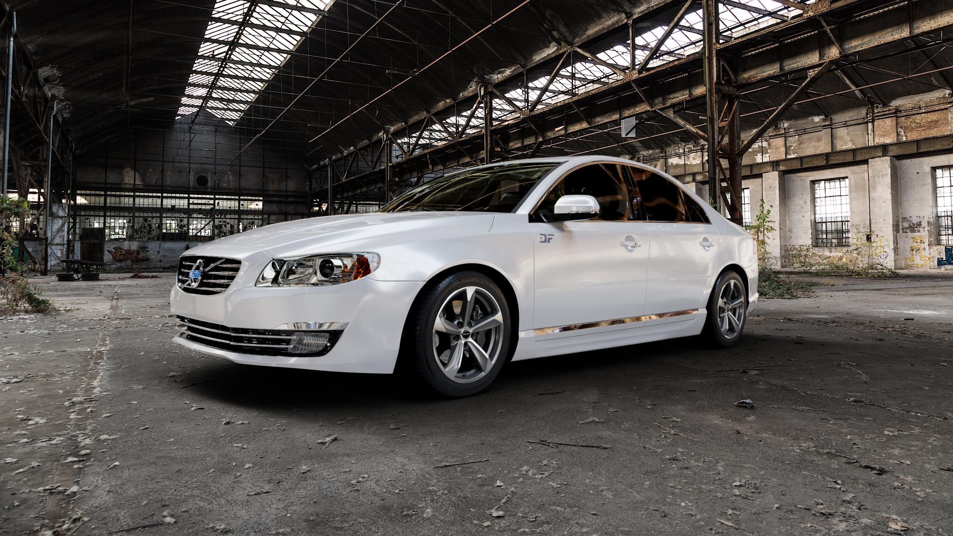 Borbet S graphite polished matt Felge mit Reifen grau mehrfarbig in 17Zoll Alufelge auf weissem Volvo S80 II Typ A ⬇️ mit 15mm Tieferlegung ⬇️ Industriehalle 1 Camera_000