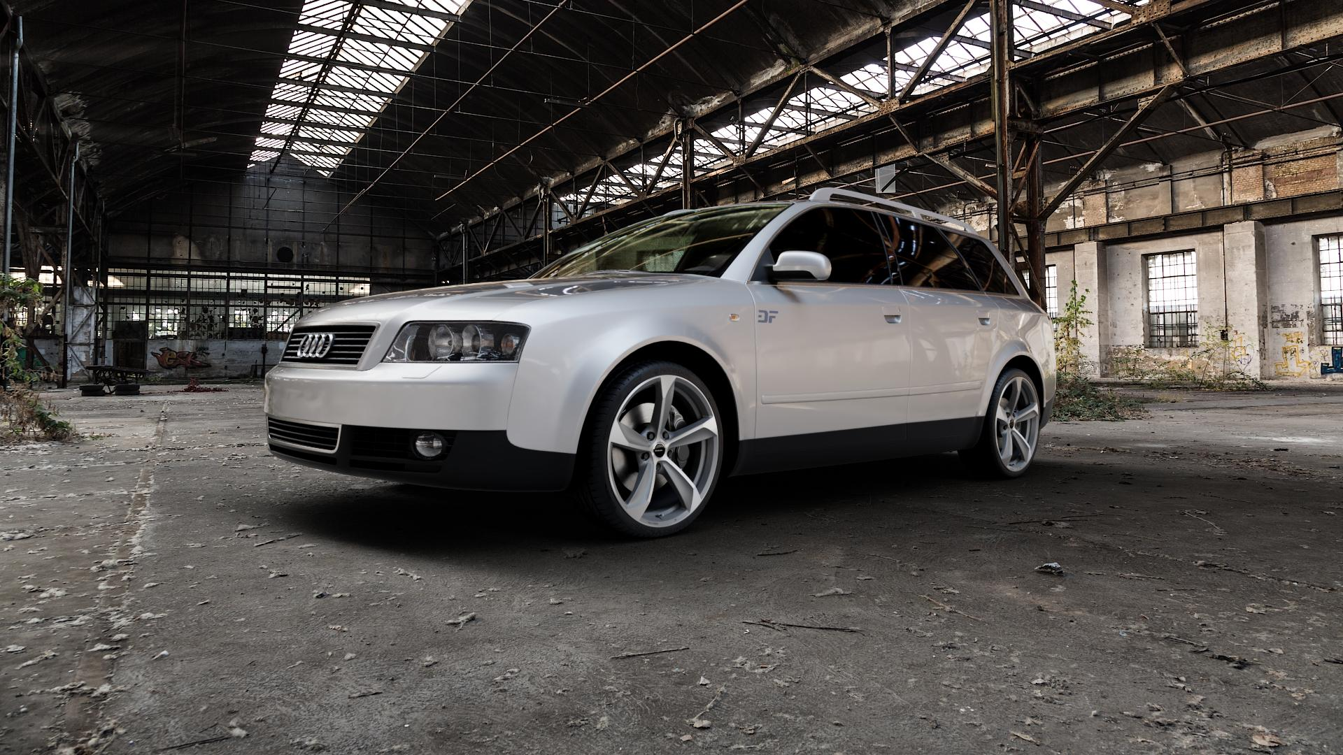 Borbet S graphite polished matt Felge mit Reifen grau mehrfarbig in 19Zoll Alufelge auf silbernem Audi A4 Typ 8E5/B6 (Avant) ⬇️ mit 15mm Tieferlegung ⬇️ Industriehalle 1 Camera_000