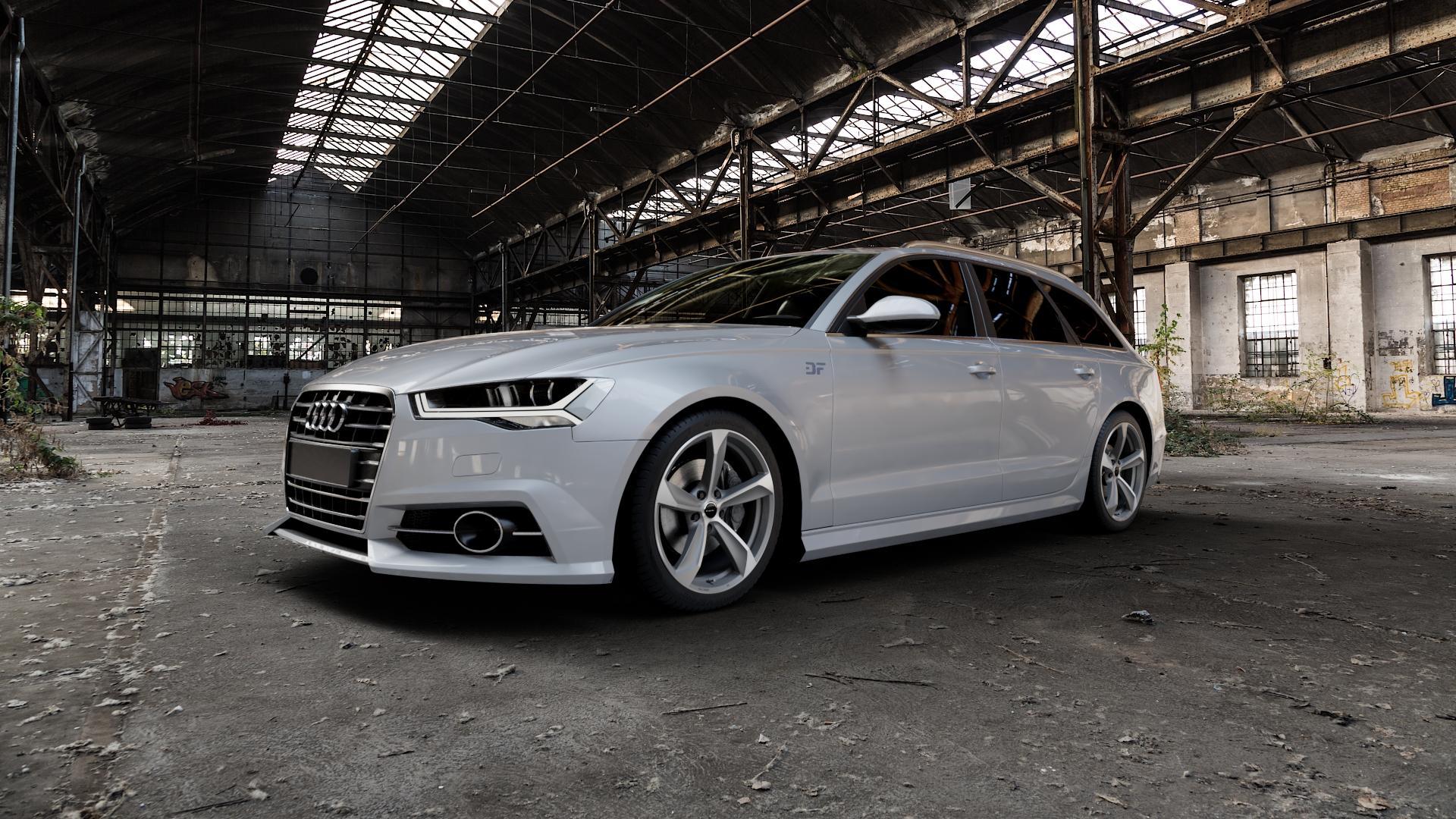 Borbet S graphite polished matt Felge mit Reifen grau mehrfarbig in 19Zoll Alufelge auf silbernem Audi A6 Typ 4G/C7 (Avant) Facelift ⬇️ mit 15mm Tieferlegung ⬇️ Industriehalle 1 Camera_000