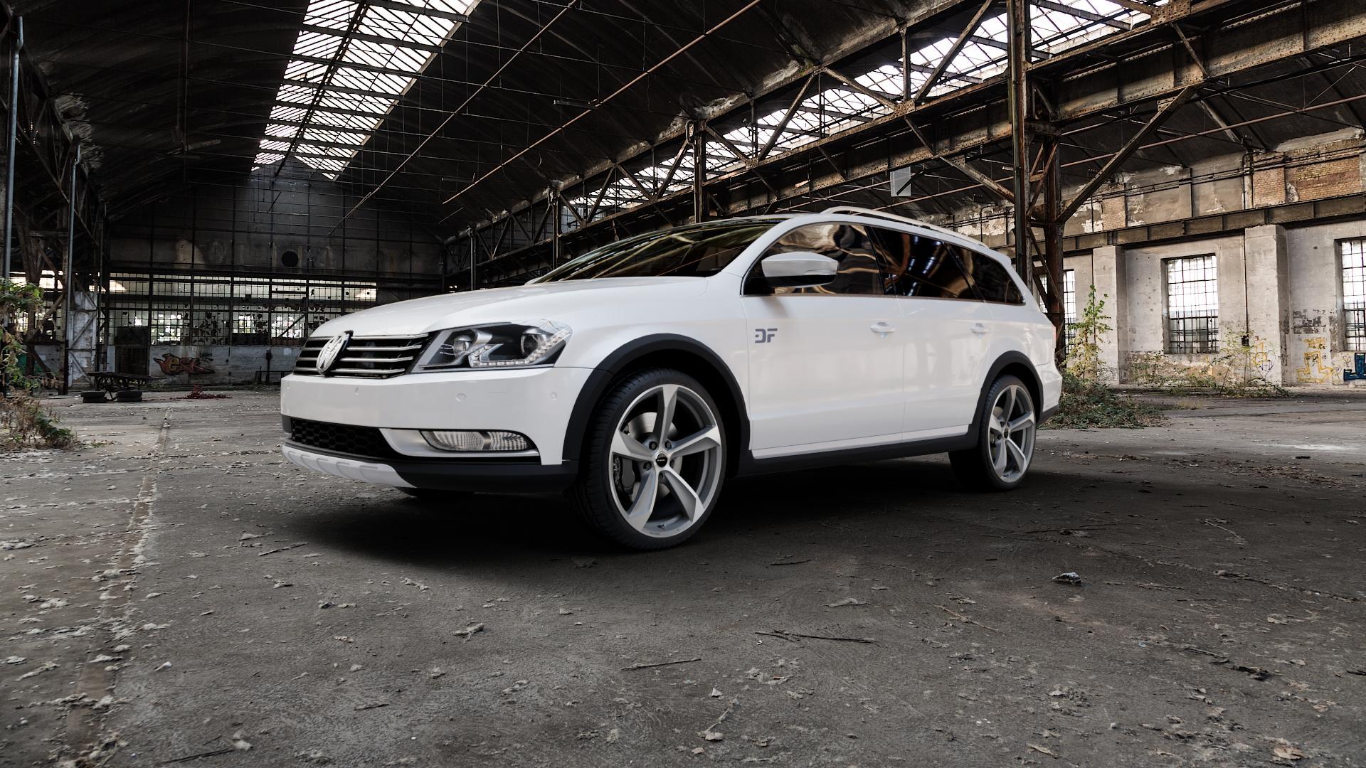 Borbet S graphite polished matt Felge mit Reifen grau mehrfarbig in 19Zoll Alufelge auf weissem Volkswagen (VW) Passat 3C/B7 Alltrack ⬇️ mit 15mm Tieferlegung ⬇️ Industriehalle 1 Camera_000