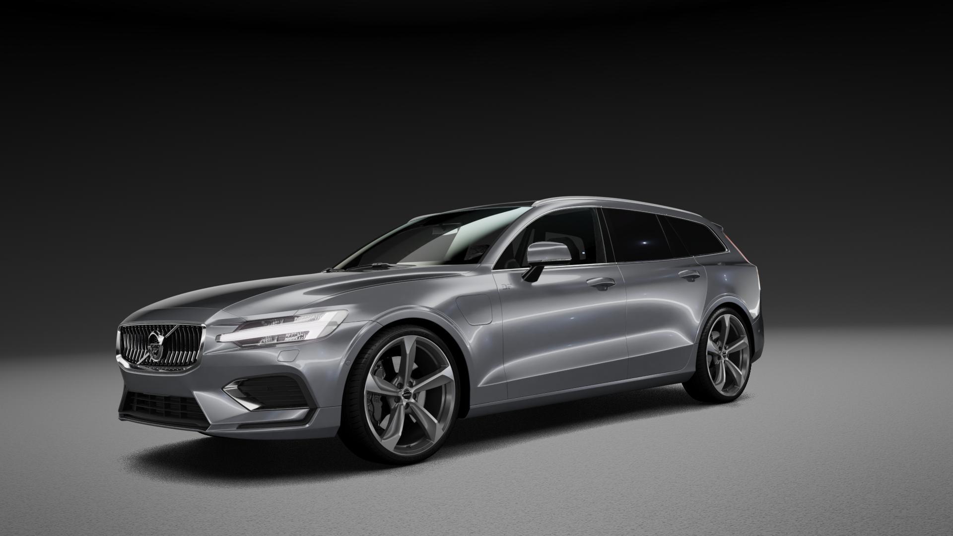 Borbet S graphite polished matt Felge mit Reifen grau mehrfarbig in 20Zoll Alufelge auf silbernem Volvo V60 Typ Z ⬇️ mit 15mm Tieferlegung ⬇️ Neutral_mid_max5300mm Frontansicht_1