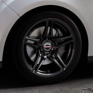 Borbet XRT black glossy Felge mit Reifen schwarz in 17Zoll Winterfelge Alufelge auf silbernem Ford Focus III Typ DYB (Turnier) ⬇️ mit 15mm Tieferlegung ⬇️ Industriehalle 1 Thumbnail