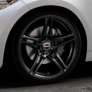 Borbet XRT black glossy Felge mit Reifen schwarz in 19Zoll Winterfelge Alufelge auf silbernem BMW M2 Typ F87 ⬇️ mit 15mm Tieferlegung ⬇️ Industriehalle 1 Thumbnail