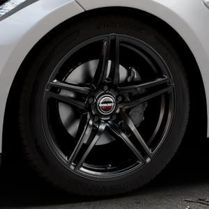 Borbet XRT black glossy Felge mit Reifen schwarz in 19Zoll Winterfelge Alufelge auf silbernem Tesla Model S Typ 002 ⬇️ mit 15mm Tieferlegung ⬇️ Industriehalle 1 Thumbnail