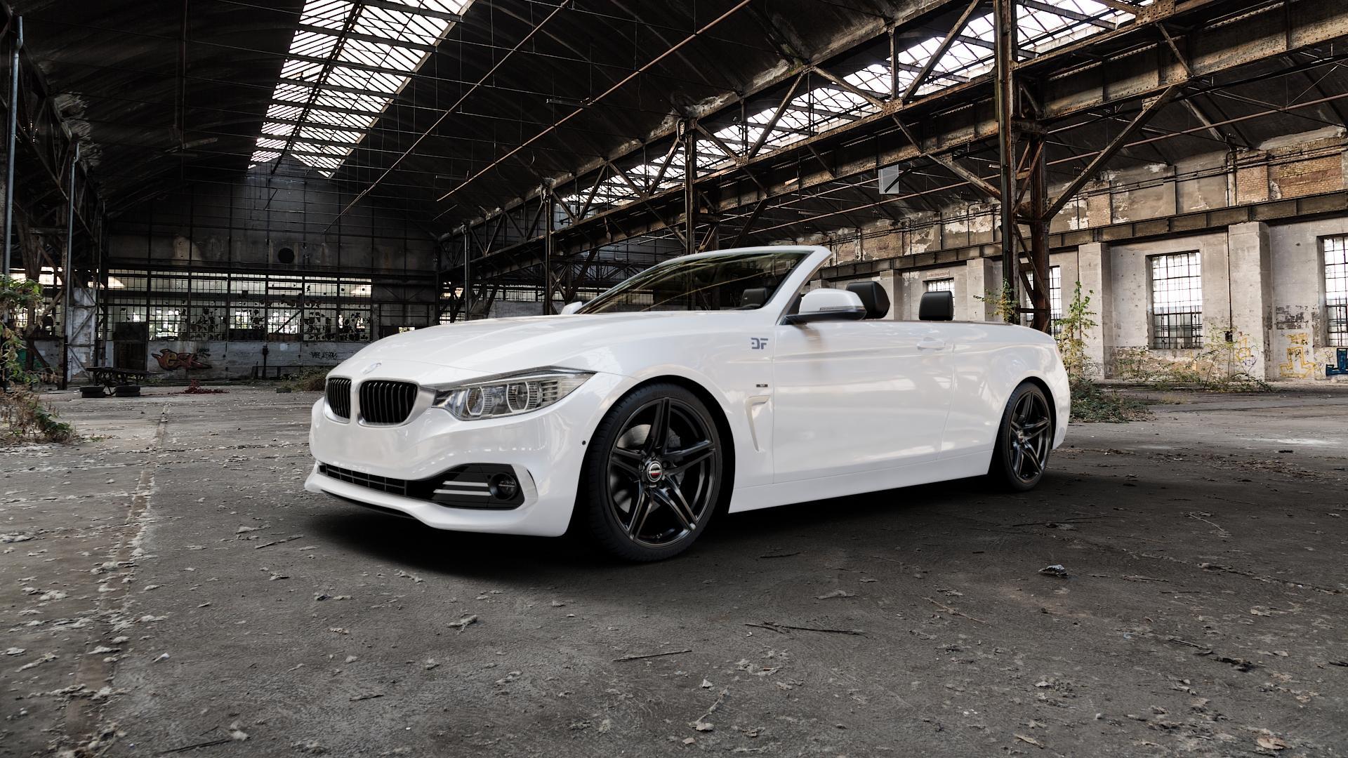 Borbet XRT black glossy Felge mit Reifen schwarz in 19Zoll Winterfelge Alufelge auf weissem BMW 428i Typ F33 (Cabrio) 435i 420d xDrive 420i 425d 430d 435d 430i 440i ⬇️ mit 15mm Tieferlegung ⬇️ Industriehalle 1 Camera_000
