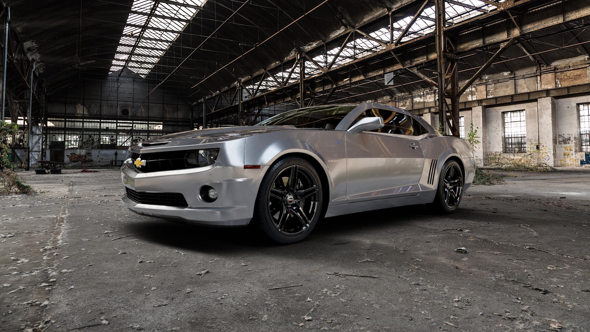 Borbet XRT black glossy Felge mit Reifen schwarz in 20Zoll Winterfelge Alufelge auf silbernem Chevrolet Camaro V ⬇️ mit 15mm Tieferlegung ⬇️ Industriehalle 1 Camera_000