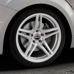 Borbet XRT brilliant silver Felge mit Reifen silber in 18Zoll Winterfelge Alufelge auf silbernem Ford Focus II Typ DA3 (Schrägheck) 2,5l RS 224kW (305 PS) RS500 257kW (349 ⬇️ mit 15mm Tieferlegung ⬇️ Industriehalle 1 Thumbnail