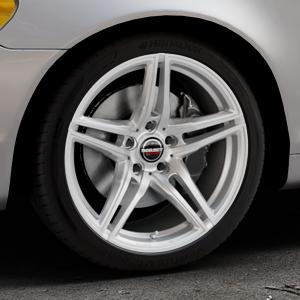 Borbet XRT brilliant silver Felge mit Reifen silber in 18Zoll Winterfelge Alufelge auf silbernem Volvo C70 II Cabriolet Typ M ⬇️ mit 15mm Tieferlegung ⬇️ Industriehalle 1 Thumbnail