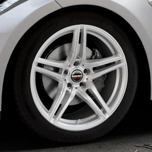 Borbet XRT brilliant silver Felge mit Reifen silber in 19Zoll Winterfelge Alufelge auf silbernem Tesla Model S Typ 002 ⬇️ mit 15mm Tieferlegung ⬇️ Industriehalle 1 Thumbnail