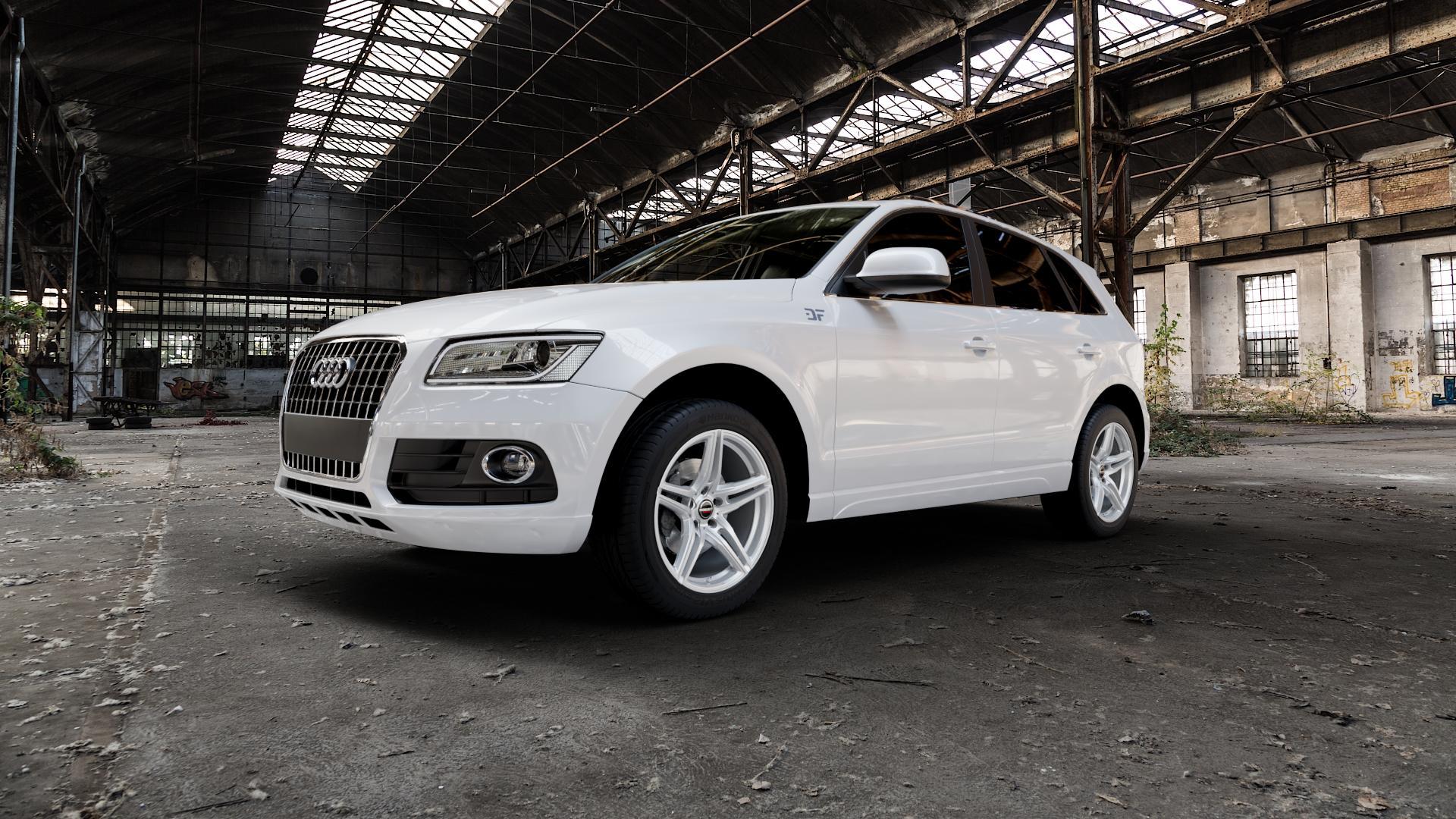 Borbet XRT brilliant silver Felge mit Reifen silber in 19Zoll Winterfelge Alufelge auf weissem Audi Q5 I Typ 8R ⬇️ mit 15mm Tieferlegung ⬇️ Industriehalle 1 Camera_000