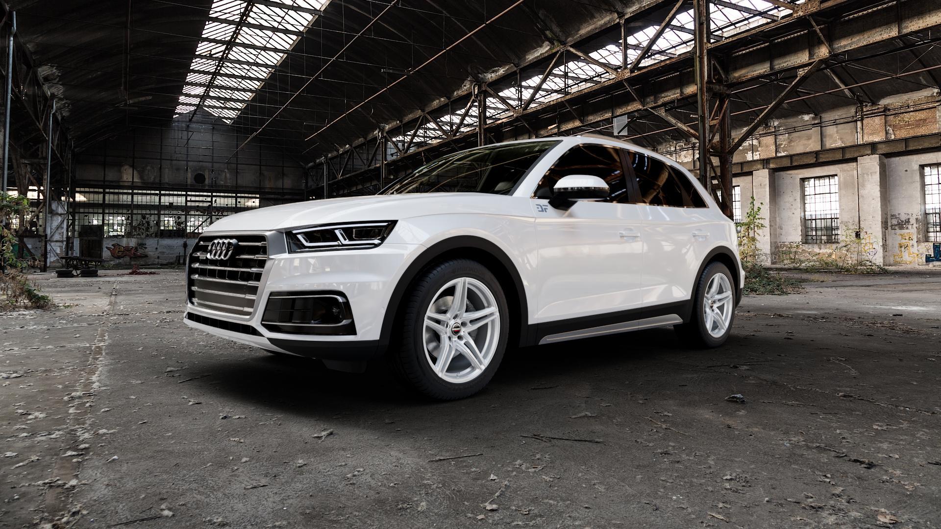 Borbet XRT brilliant silver Felge mit Reifen silber in 19Zoll Winterfelge Alufelge auf weissem Audi Q5 II Typ FY ⬇️ mit 15mm Tieferlegung ⬇️ Industriehalle 1 Camera_000