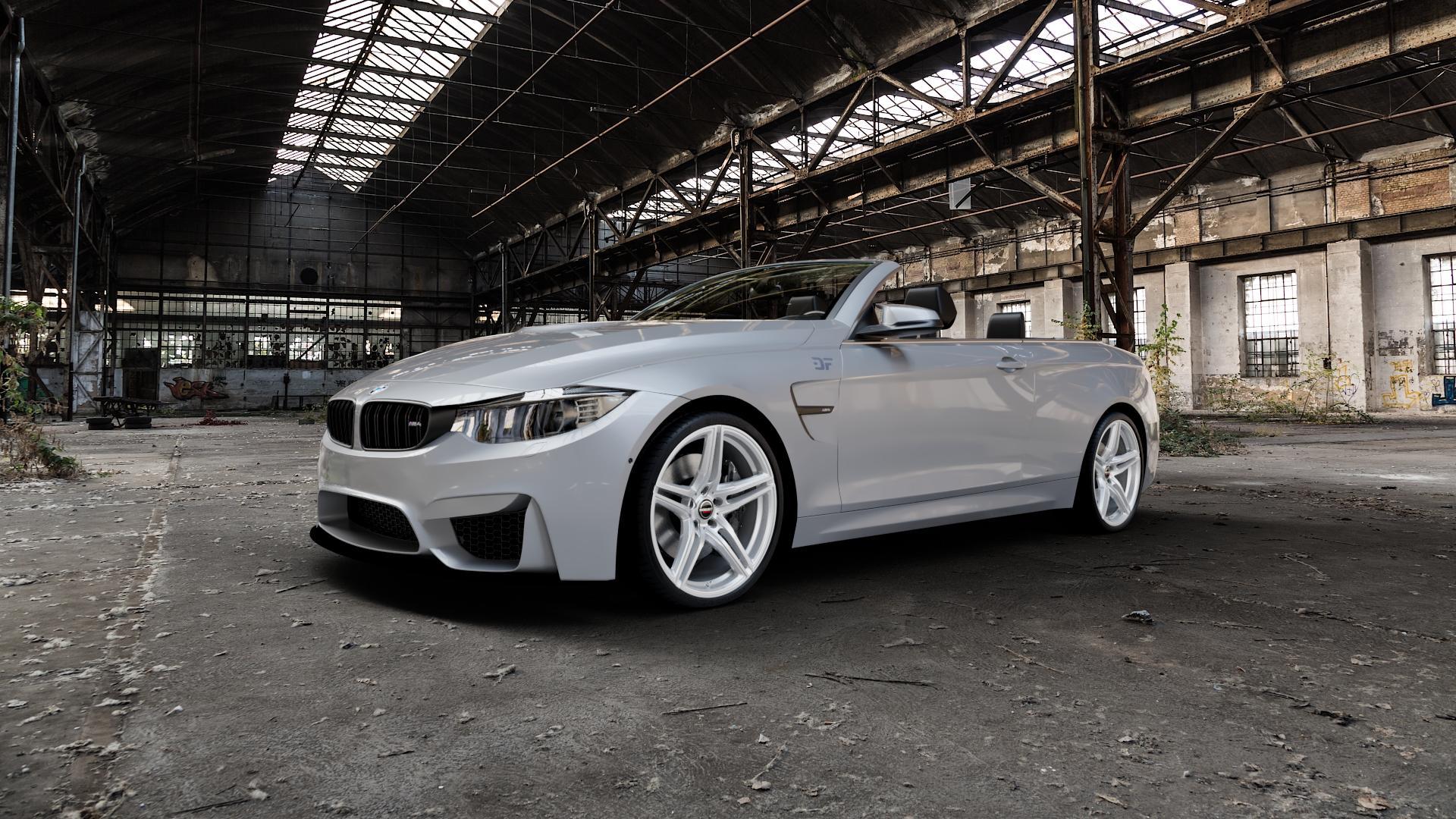 Borbet XRT brilliant silver Felge mit Reifen silber in 20Zoll Winterfelge Alufelge auf silbernem BMW M4 Typ F83 (Cabrio) 3,0l 317kW (431 PS) ⬇️ mit 15mm Tieferlegung ⬇️ Industriehalle 1 Camera_000