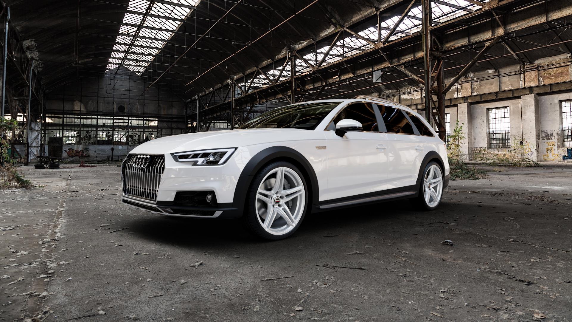 Borbet XRT brilliant silver Felge mit Reifen silber in 20Zoll Winterfelge Alufelge auf weissem Audi A4 Typ B9 Allroad ⬇️ mit 15mm Tieferlegung ⬇️ Industriehalle 1 Camera_000