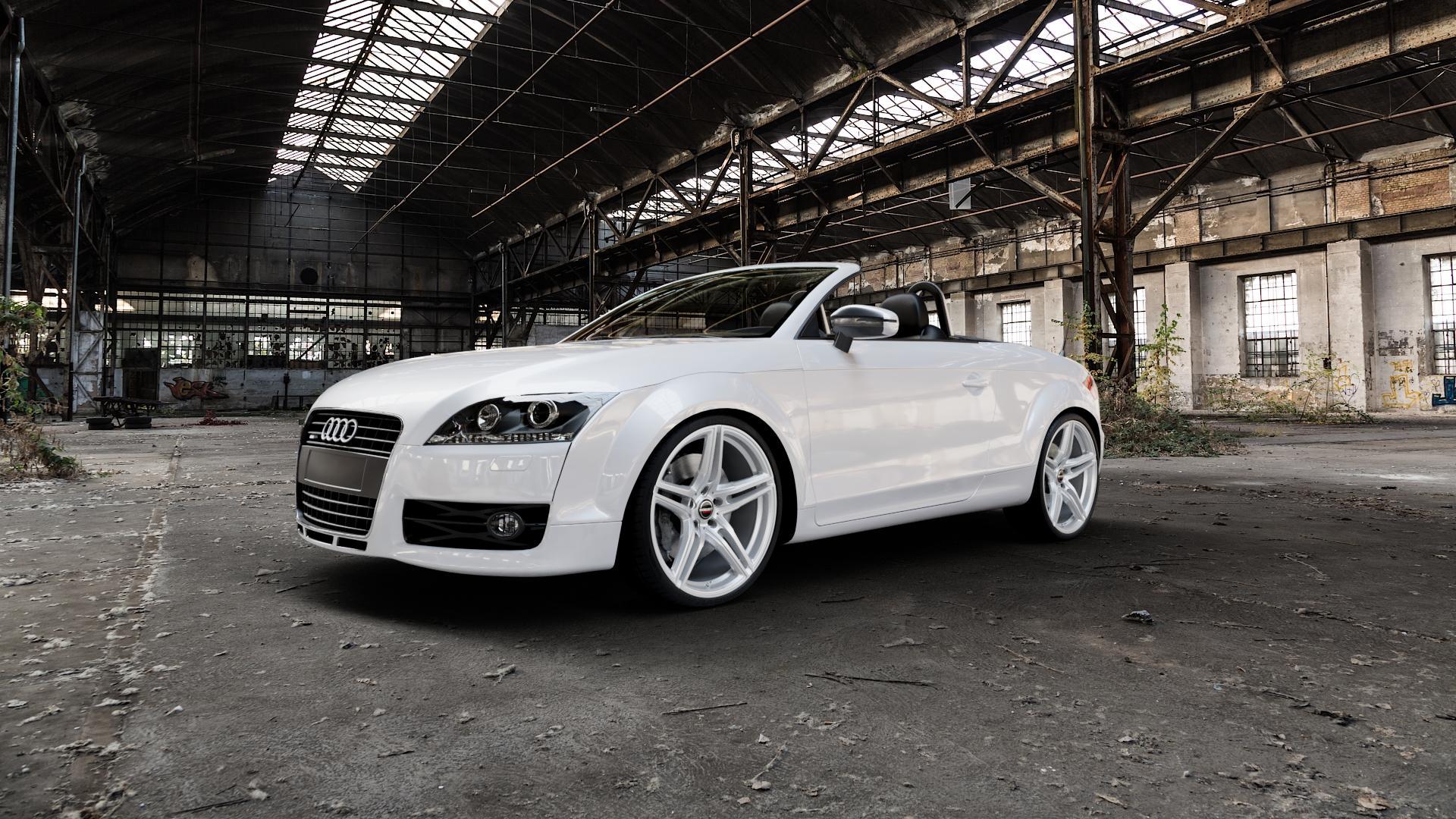 Borbet XRT brilliant silver Felge mit Reifen silber in 20Zoll Winterfelge Alufelge auf weissem Audi TT II Typ 8J (Roadster) ⬇️ mit 15mm Tieferlegung ⬇️ Industriehalle 1 Camera_000