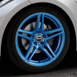 Borbet XRT candy blue Felge mit Reifen blau in 19Zoll Alufelge auf silbernem Tesla Model S Typ 002 ⬇️ mit 15mm Tieferlegung ⬇️ Industriehalle 1 Thumbnail