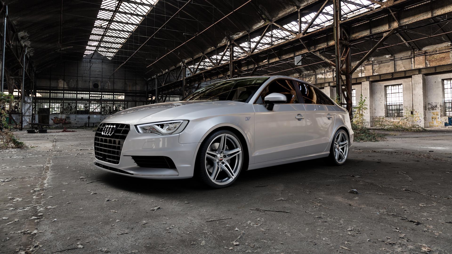 Borbet XRT graphite polished Felge mit Reifen grau silber mehrfarbig in 19Zoll Alufelge auf silbernem Audi A3 Typ 8V (Limousine) ⬇️ mit 15mm Tieferlegung ⬇️ Industriehalle 1 Camera_000