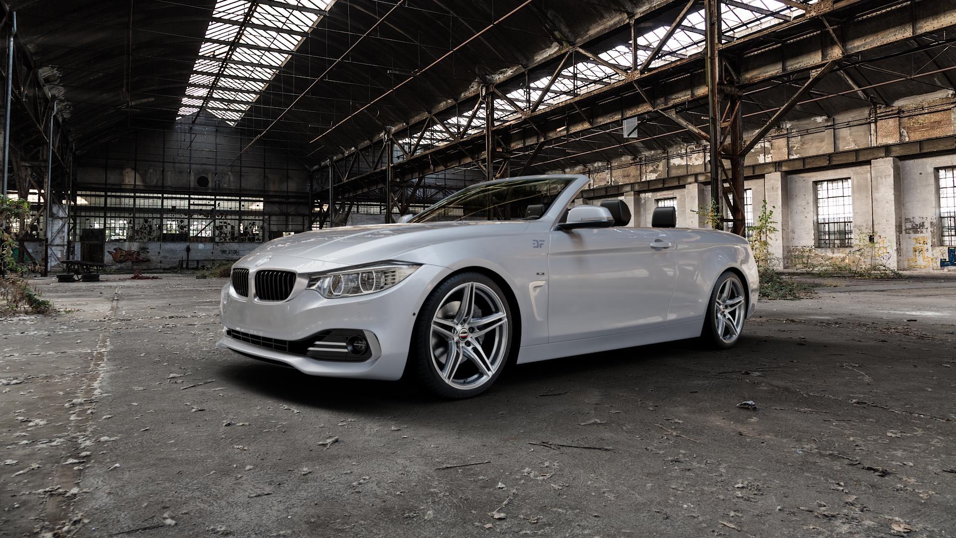 Borbet XRT graphite polished Felge mit Reifen grau silber mehrfarbig in 19Zoll Alufelge auf silbernem BMW 428i Typ F33 (Cabrio) 435i 420d xDrive 420i 425d 430d 435d 430i 440i ⬇️ mit 15mm Tieferlegung ⬇️ Industriehalle 1 Camera_000