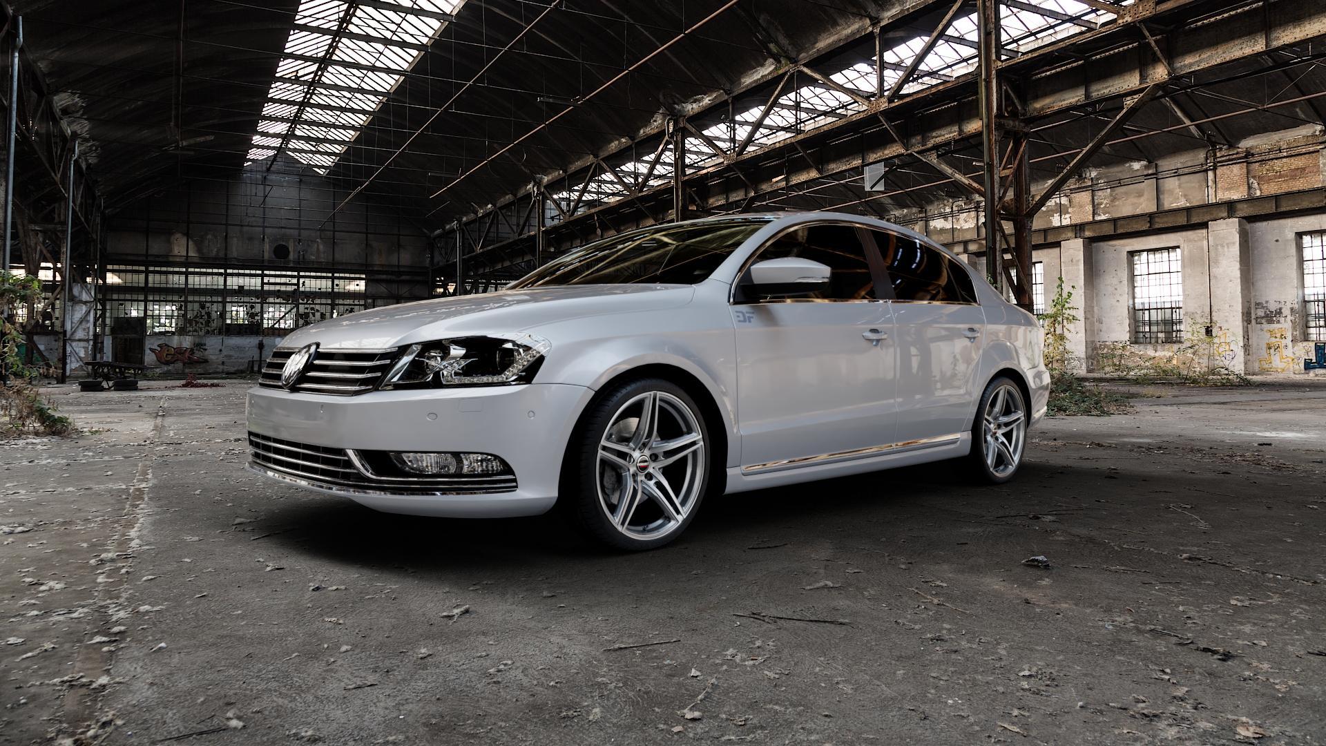 Borbet XRT graphite polished Felge mit Reifen grau silber mehrfarbig in 19Zoll Alufelge auf silbernem Volkswagen (VW) Passat 3C/B7 Limousine ⬇️ mit 15mm Tieferlegung ⬇️ Industriehalle 1 Camera_000