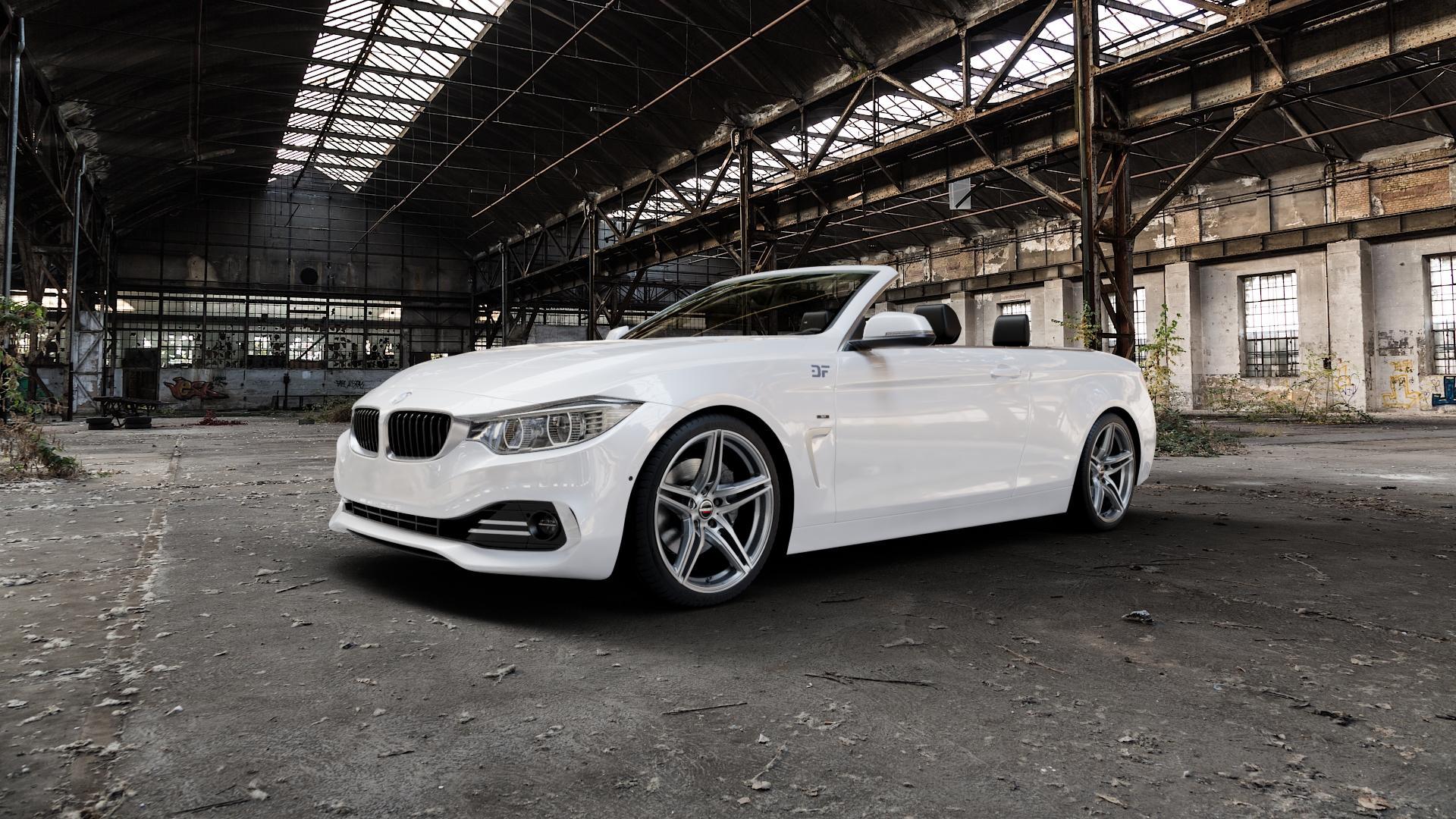 Borbet XRT graphite polished Felge mit Reifen grau silber mehrfarbig in 19Zoll Alufelge auf weissem BMW 428i Typ F33 (Cabrio) 435i 420d xDrive 420i 425d 430d 435d 430i 440i ⬇️ mit 15mm Tieferlegung ⬇️ Industriehalle 1 Camera_000