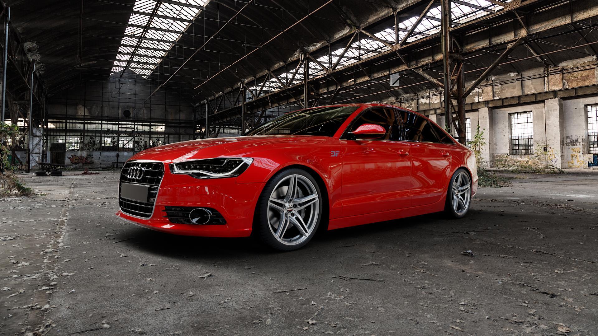 Borbet XRT graphite polished Felge mit Reifen grau silber mehrfarbig in 20Zoll Alufelge auf rotem Audi A6 Typ 4G/C7 (Limousine) ⬇️ mit 15mm Tieferlegung ⬇️ Industriehalle 1 Camera_000