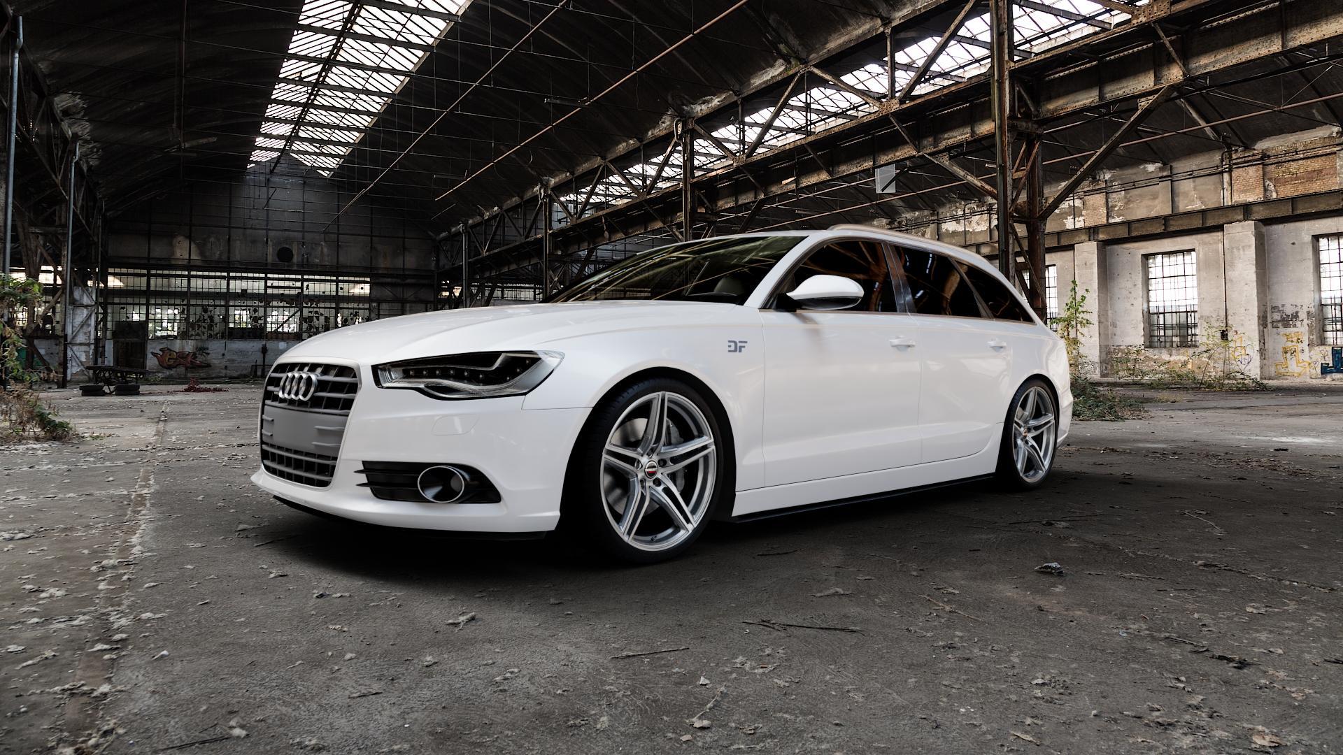 Borbet XRT graphite polished Felge mit Reifen grau silber mehrfarbig in 20Zoll Alufelge auf weissem Audi A6 Typ 4G/C7 (Avant) ⬇️ mit 15mm Tieferlegung ⬇️ Industriehalle 1 Camera_000