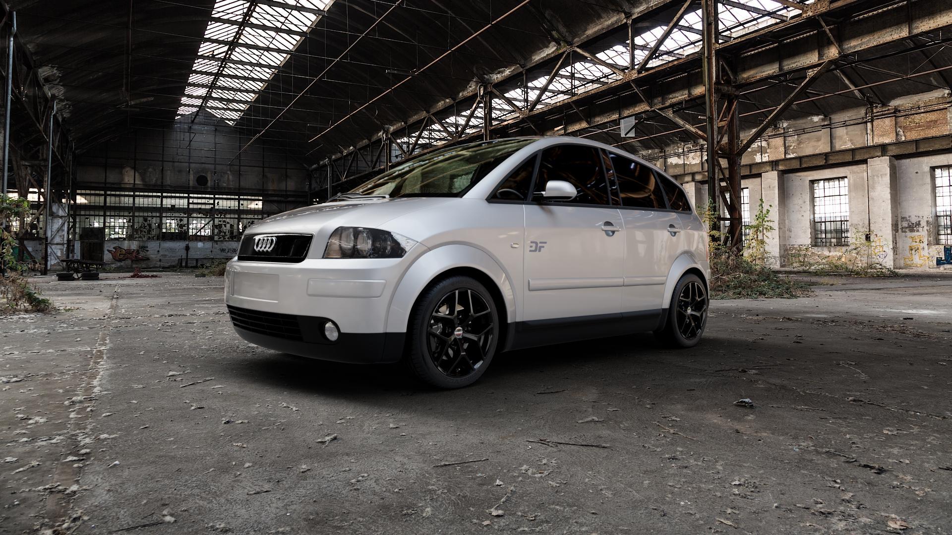 Borbet Y black glossy Felge mit Reifen schwarz in 16Zoll Winterfelge Alufelge auf silbernem Audi A2 Typ 8Z ⬇️ mit 15mm Tieferlegung ⬇️ Industriehalle 1 Camera_000