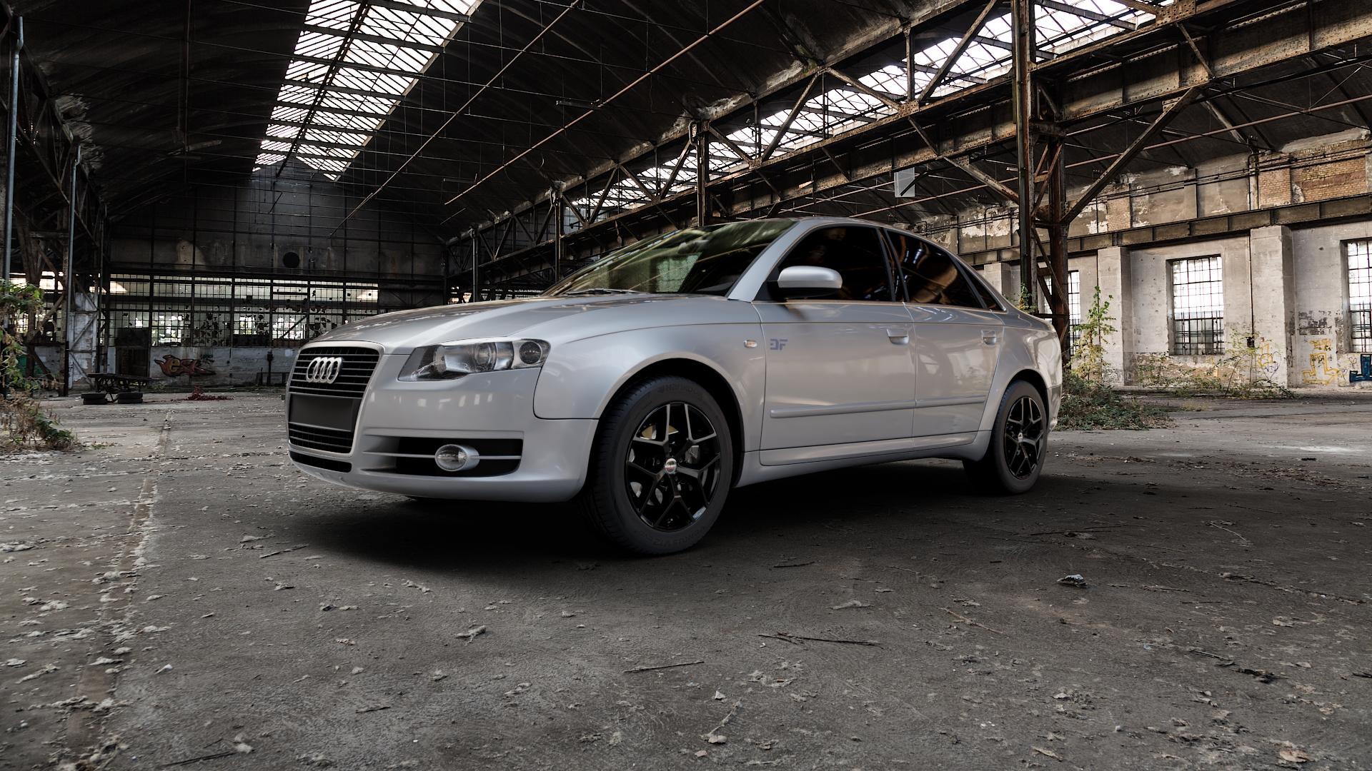 Borbet Y black glossy Felge mit Reifen schwarz in 16Zoll Winterfelge Alufelge auf silbernem Audi A4 Typ 8EC/B7 (Limousine) ⬇️ mit 15mm Tieferlegung ⬇️ Industriehalle 1 Camera_000