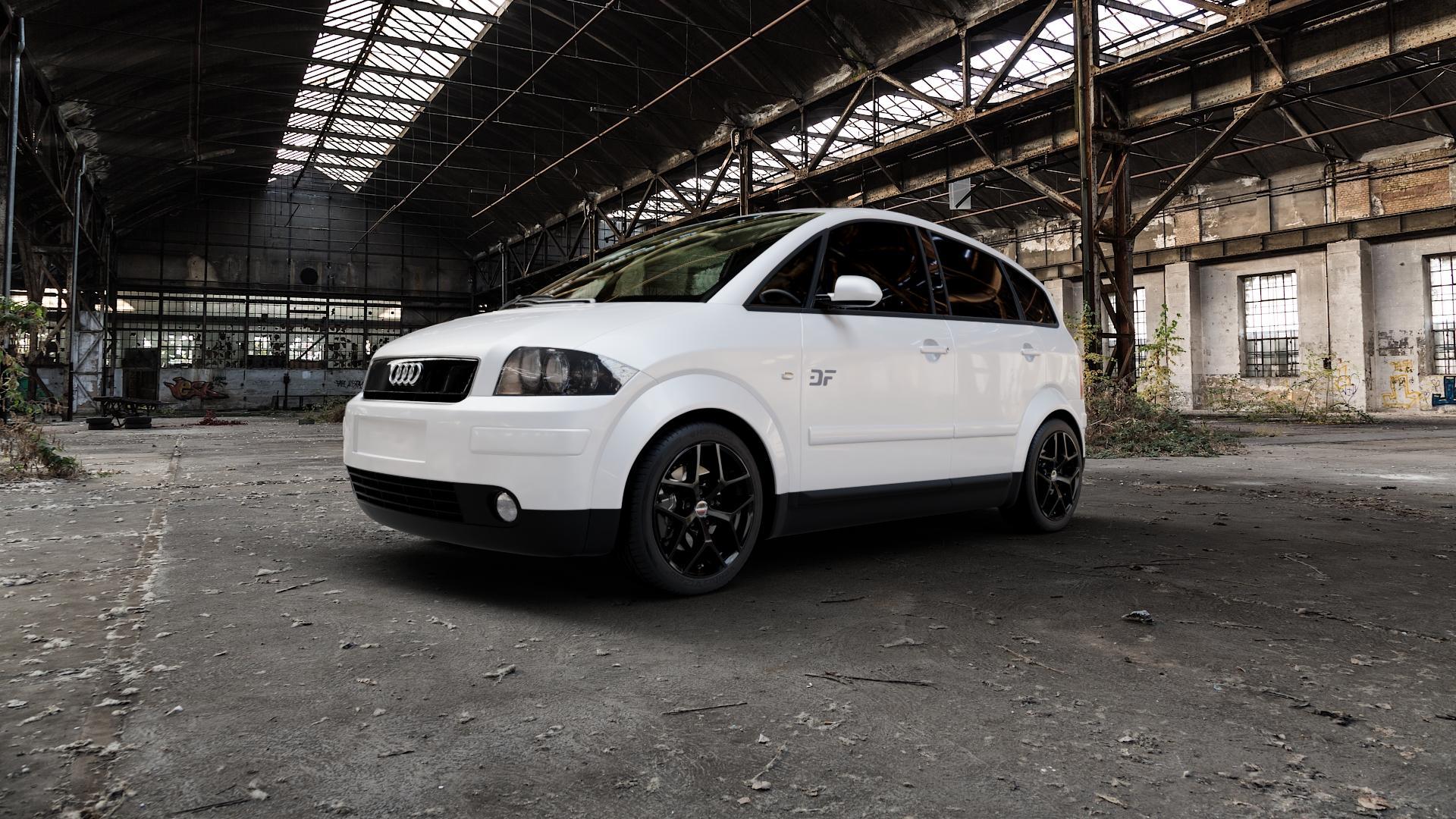 Borbet Y black glossy Felge mit Reifen schwarz in 16Zoll Winterfelge Alufelge auf weissem Audi A2 Typ 8Z ⬇️ mit 15mm Tieferlegung ⬇️ Industriehalle 1 Camera_000