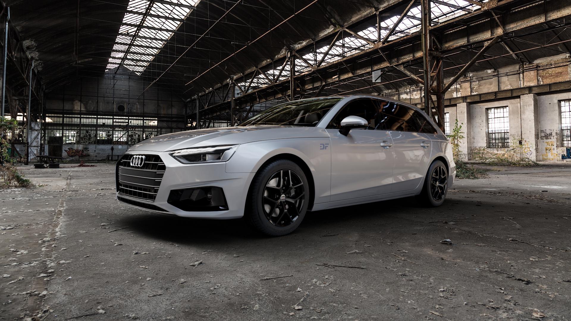 Borbet Y black glossy Felge mit Reifen schwarz in 17Zoll Winterfelge Alufelge auf silbernem Audi A4 Typ B9 (Avant) Facelift ⬇️ mit 15mm Tieferlegung ⬇️ Industriehalle 1 Camera_000