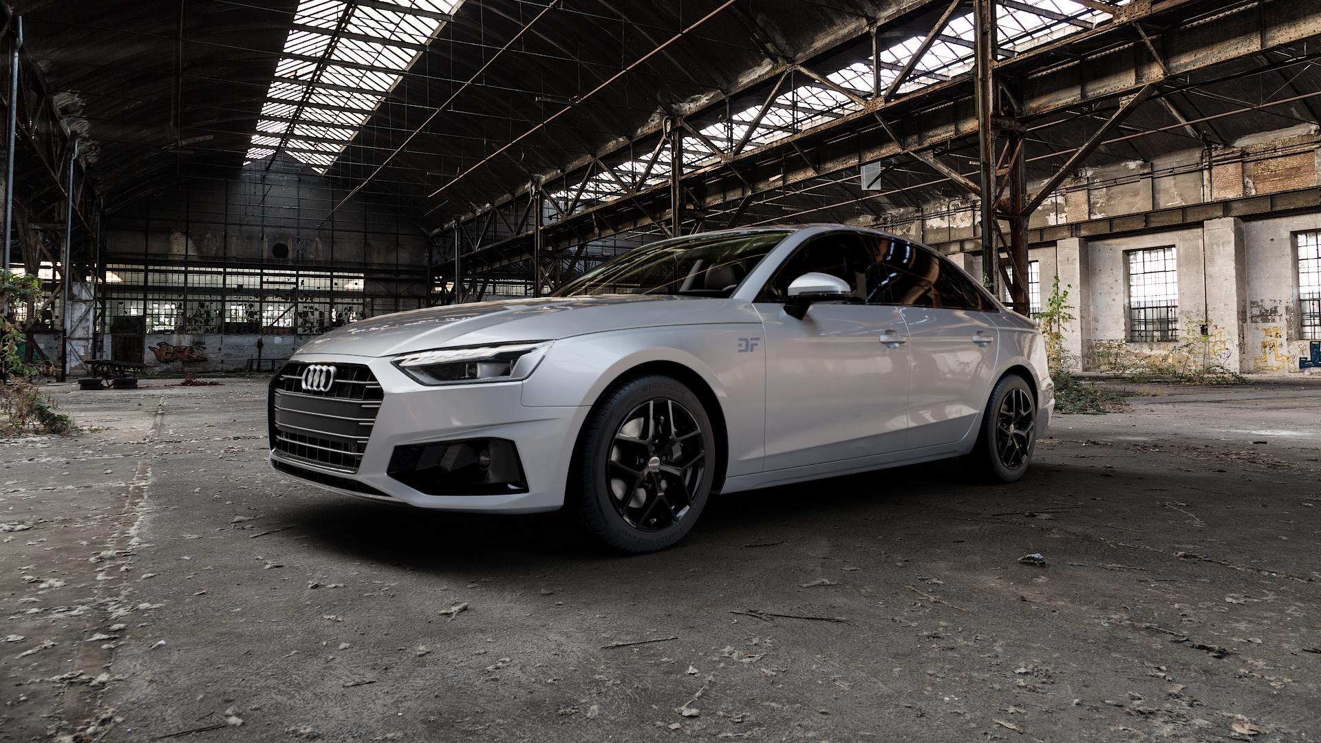 Borbet Y black glossy Felge mit Reifen schwarz in 17Zoll Winterfelge Alufelge auf silbernem Audi A4 Typ B9 (Limousine) Facelift ⬇️ mit 15mm Tieferlegung ⬇️ Industriehalle 1 Camera_000