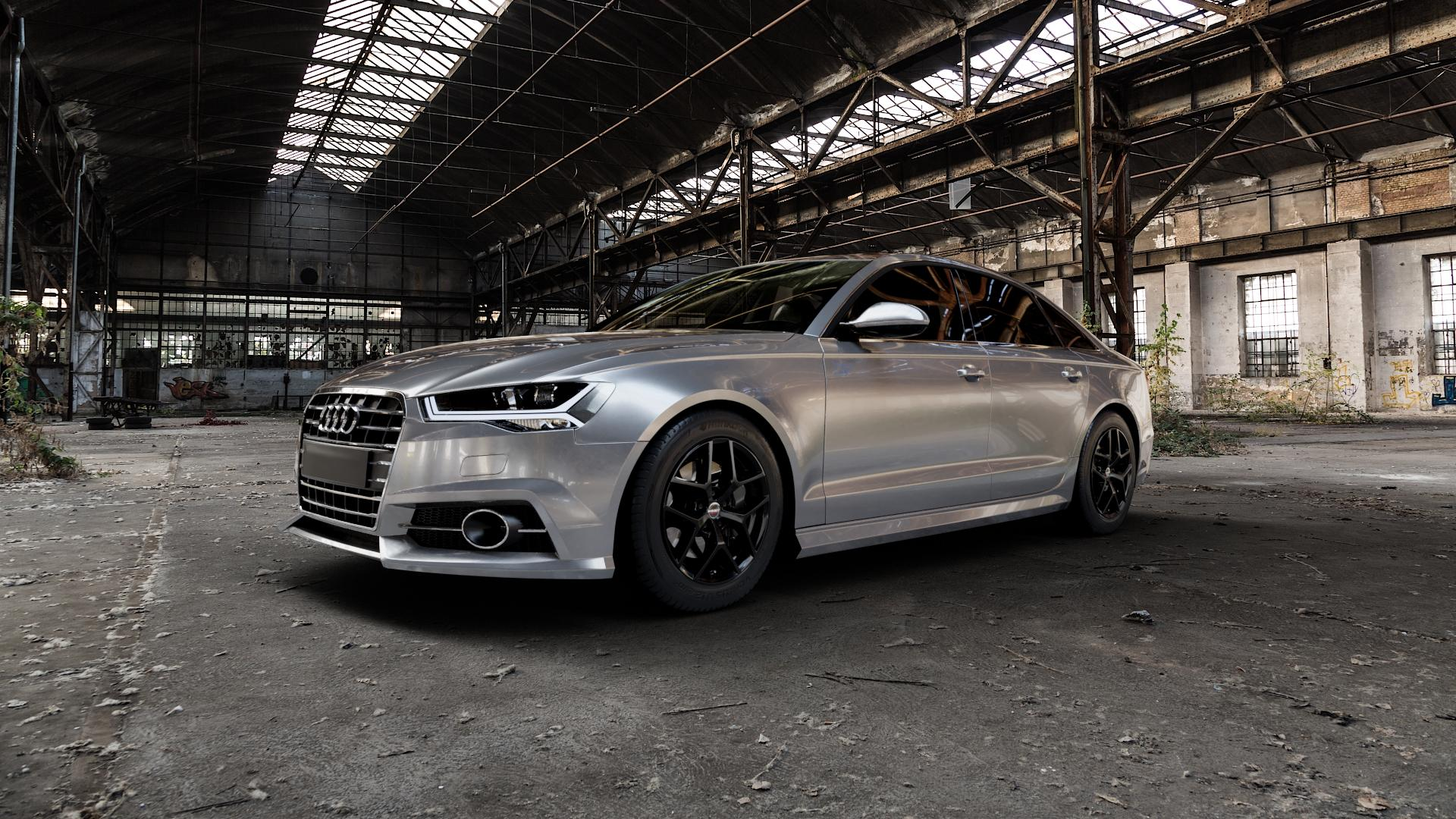 Borbet Y black glossy Felge mit Reifen schwarz in 17Zoll Winterfelge Alufelge auf silbernem Audi A6 Typ 4G/C7 (Limousine) Facelift ⬇️ mit 15mm Tieferlegung ⬇️ Industriehalle 1 Camera_000